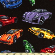 Sports Car Flannel Cotton Fabric - Black