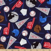 Sports Life Baseball Cotton Fabric - Navy AKQ-11538-9 NAVY
