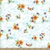 Spring Fling Floral Silhoette Cotton Fabric - Blue