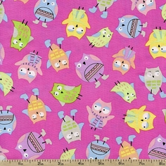 Spring Showers Owl Toss Cotton Fabric - Pink