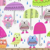 Spring Showers Owl Umbrellas Cotton Fabric - White