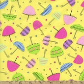 Spring Showers Umbrellas Cotton Fabric - Yellow
