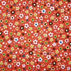 Spring Street Cotton Fabric - Red Orange - CLEARANCE