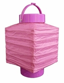 Square Shaped Battery Paper Lantern - Fuchsia - CLEARANCE