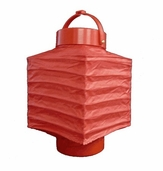 Square Shaped Battery Paper Lantern - Red - CLEARANCE