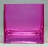 Square Vase 4in - Fuchsia Rose Glass - Clearance