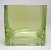 Square Vase 4in - Kiwi Green Glass - Clearance