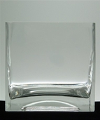 Square Vase 4in pkg of 2 - Clear Glass