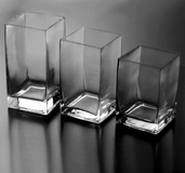 Square Vase Set of 3  Graduated Height - Clear Glass