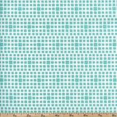 Squared Elements Cotton Fabric - Turquoise