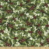 Stained Glass Christmas Holly Cotton Fabric - Mistletoe Gold