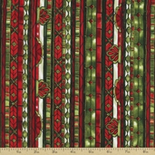 Stained Glass Christmas Stripe Cotton Fabric - Scarlet Gold