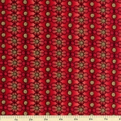 Stained Glass Floral Cotton Fabric - Red