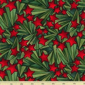 Stained Glass Star Cotton Fabric - Green