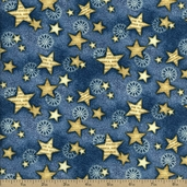 Star Spangled Bandana Cotton Fabric - Blue 02894-55