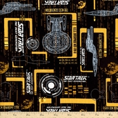 Star Trek Enterprise Cotton Fabric - Gold