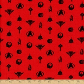 Star Trek Logos Cotton Fabric - Red
