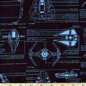 Star Wars Blueprint Cotton Fabric - Black