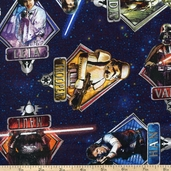 Star Wars Character Badge Cotton Fabric - Blue