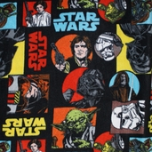 Star Wars Characters Polyester Fleece Fabric - Black 7310010A