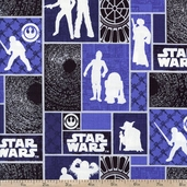 Star Wars Dark Side Glowing Character Grid Cotton Fabric - Blue