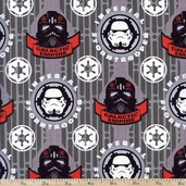 Star Wars Dark Side Glowing Galactic Empire Cotton Fabric - Grey