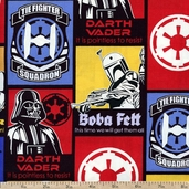 Star Wars Dark Side Glowing Squadron Cotton Fabric - Red