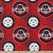 Star Wars Dark Side Glowing Sith Lord Cotton Fabric - Red