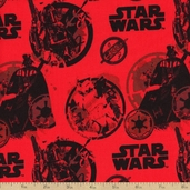 Star Wars III Danger Cotton Fabric - Red