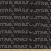 Star Wars III Logo Cotton Fabric - Black