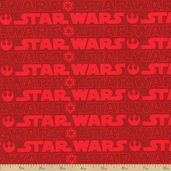 Star Wars III Logo Cotton Fabric - Red