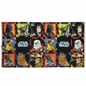 Star Wars Immortals Character Block Panel Cotton Fabric - Black