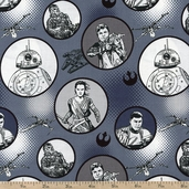Star Wars: The Force Awakens Badges Cotton Fabric - Navy