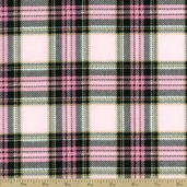 Stewart Plaid Flannel Fabric - Pink