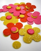 Stick It Felt Glimmer Flowers - Pink/Yellow/Orange