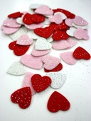 Stick It Felt Glimmer Hearts - Red/White/Pink