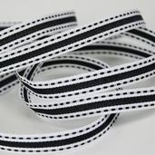 Stitched Striped Ribbon 3/8in. - 27.5yds - Black