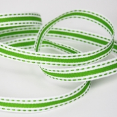 Stitched Striped Ribbon 3/8in. - 27.5yds - Green