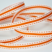 Stitched Striped Ribbon 3/8in. - 27.5yds - Orange