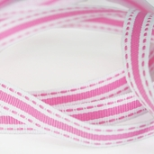 Stitched Striped Ribbon 3/8in. - 27.5yds - Pink