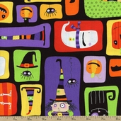 Stitchy Witchy Haunts Mosaic Cotton Fabric - Bright AIB-13712-195 BRIGHT