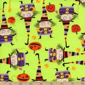 Stitchy Witchy Haunts Witch Cotton Fabric - Multi AIB-13714-205 MULTI