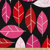 Stockholm Cotton Fabric - Lipstick - Leaves