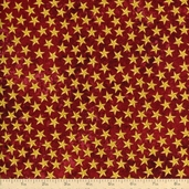 Stonehenge Land of the Free Stars Cotton Fabric - Red