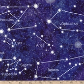 Stonehenge Out of This World Constellation Cotton Fabric - Purple