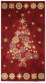 Stonehenge Starry Night Metallic Cotton Fabric Panel - Cranberry