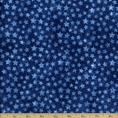 Stonehenge Stars And Stripes 2 Stars Cotton Fabric - Blue