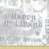 Stonehenge White Christmas Cotton Fabric - Holiday Script - Silver