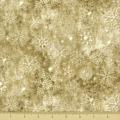 Stonehenge White Christmas Cotton Fabric - Snowflake - Gold
