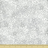 Stonehenge White Christmas Cotton Fabric - Star Scroll - Silver